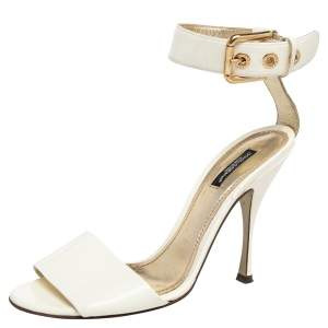 Dolce & Gabbana White Patent Leather Ankle Strap Sandals Size 39