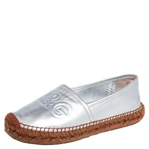 Dolce & Gabbana Silver Leather Logo Embossed Espadrille Flats Size 38