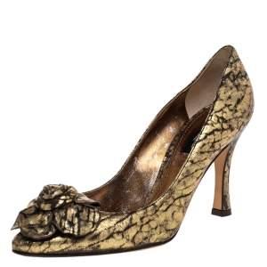 Dolce & Gabbana Gold Leather Floral Embellished Pumps Size 37