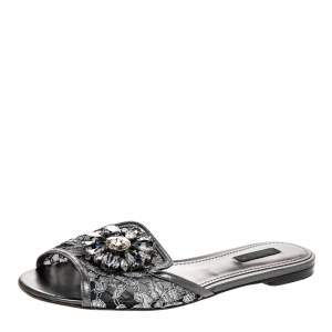 Dolce and Gabbana Grey Lace And Leather Crystal Embellished Flats Size 38