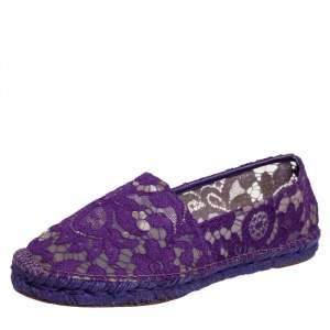 Dolce & Gabbana Purple Lace Espadrille Flats Size 39