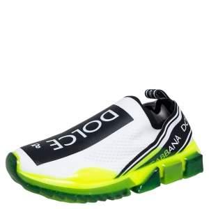 Dolce & Gabbana Neon Green/White Knit Fabric Sorrento Slip On Sneakers Size 40