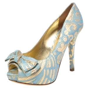 Dolce & Gabbana Brocade Fabric Bow Peep Toe Platform Pumps Size 36