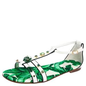 Dolce & Gabbana Green/White Patent Leather And Banana Leaf-Print Embellished Flat Ankle Strap Sandals Size 37