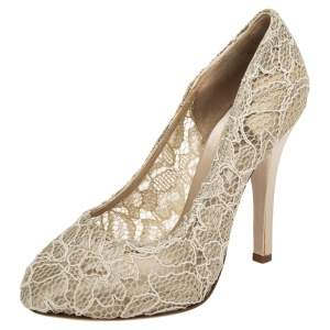 Dolce & Gabbana Beige Lace Round Toe Pumps Size 37.5