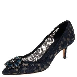 Dolce & Gabbana Navy Blue Lace Bellucci Pumps Size 37