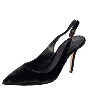 Dolce & Gabbana Black Velvet Pointed Toe Slingback Pointed Toe Pumps Size 38.5