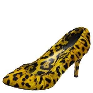 Dolce & Gabbana Yellow Scrunch Satin Animal Print Pumps Size 40