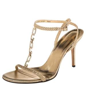 Dolce & Gabbana Gold Braided Leather Embellished T-Strap Sandals Size 38.5