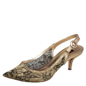 Dolce & Gabbana Gold Chantilly Lace & Leather Bellucci Slingback Pointed Toe Pumps Size 38