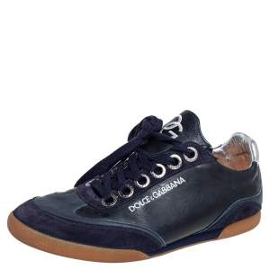 Dolce & Gabbana Navy Blue Leather and Suede Lace Up Sneakers Size 40