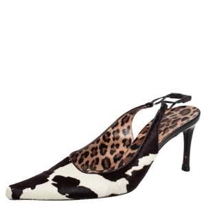 Dolce & Gabbana Black/Brown Leopard Print Pony Hair Slingback Sandals Size 38.5