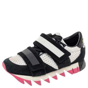 Dolce & Gabbana Black/White Suede And Mesh Colorblock Pattern Sneakers Size 37