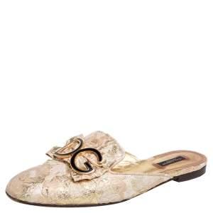 Dolce & Gabbana Gold Brocade Fabric DG Logo Flat Mule Sandals Size 40.5