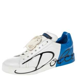 Dolce & Gabbana White/Blue Leather Portofino Sneakers Size 39