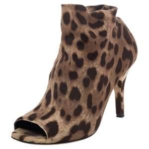 Dolce & Gabbana Brown Leopard Print Knit Fabric Peep Toe Booties Size 39