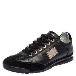 Dolce & Gabbana Black Patent Leather and Suede Low Top Sneakers Size 37.5