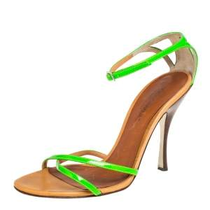 Dolce & Gabbana Neon Green Open Toe Ankle Strap Sandals Size 38