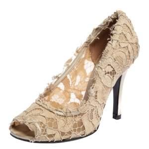 Dolce & Gabbana Beige Lace Peep Toe Pumps Size 37.5