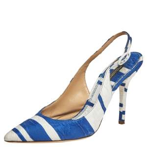 Dolce & Gabbana Blue/ White Stripe Brocade Fabric Pointed Toe Slingback Sandals Size 38.5