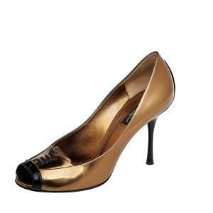 Dolce & Gabbana Metallic Gold/Black Patent Leather Peep Toe Pumps Size 37.5
