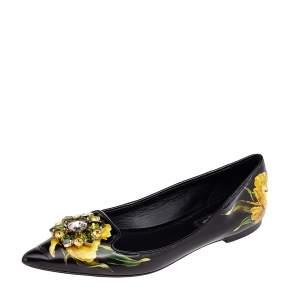 Dolce & Gabbana Black Floral Printed Leather Crystal Embellished Pointed Toe Ballet Flat Size 37