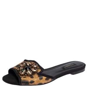 Dolce & Gabbana Leopard Print Coated Canvas Crystal Embellished Bianca Flats Size 37