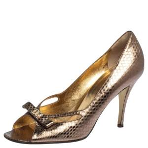 Dolce & Gabbana Gold Python Embossed Leather Peep Toe Bow Pumps Size 37.5