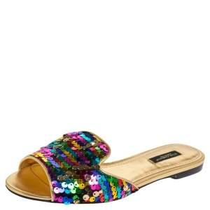 Dolce & Gabbana Multicolor Sequin Slide Flats Size 37
