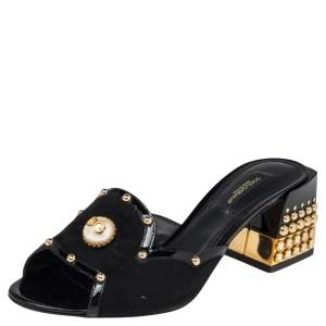 Dolce & Gabbana Black Suede And Patent Leather Sandals Size 36