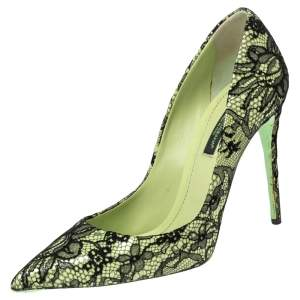 Dolce & Gabbana Green/Black Lace Pointed Toe Kate Pumps  Size 36