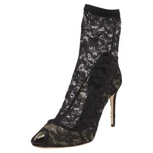 Dolce & Gabbana Black Fabric, Lace And Mesh Stretch Peep Toe Booties Size 41