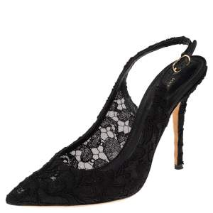 Dolce & Gabbana Black Lace Slingback Sandals Size 38