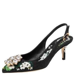 Dolce & Gabbana Black Floral Print Brocade Crystals Exclusive Slingback Sandals Size 35