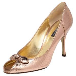 Dolce & Gabbana Rose Gold Python Embossed Leather Peep Toe Bow Pumps Size 38