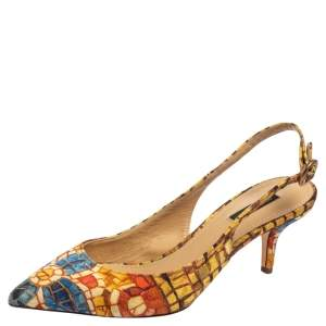 Dolce & Gabbana Multicolor Print Canvas Slingback Pointed Toe  Sandals Size 38
