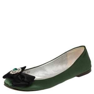Dolce & Gabbana Green/Black Satin Bow Crystals Ballet Flats Size 37