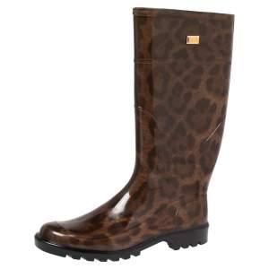 Dolce & Gabbana Brown Leopard Print Rubber Mid Rain Boots Size 40