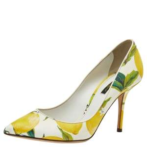 Dolce & Gabbana White Floral Print Leather Pointed Toe Pumps Size 38