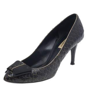 Dolce & Gabbana Black Python Embossed Leather Pumps Size 37