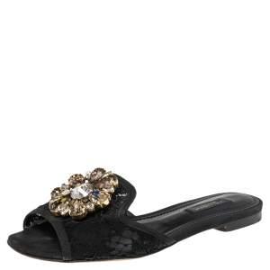 Dolce & Gabbana Black Lace Sofia Crystal Embellished Flats Size 35