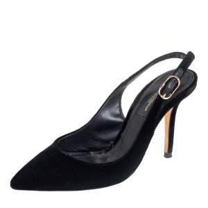 Dolce & Gabbana Black Velvet Pointed Toe Slingback  Pumps Size 35