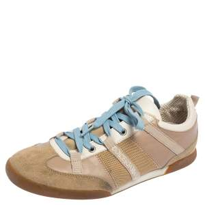 Dolce & Gabbana Beige Leather And Suede Lace Up Sneakers  Size 38