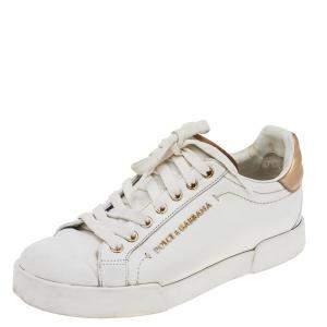 Dolce & Gabbana White Leather Portofino Low Top Sneakers Size 37.5