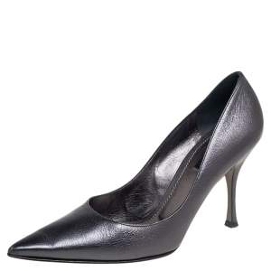 Dolce & Gabbana Metallic Grey Leather Lori Pointed Toe Pumps Size 39