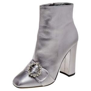 Dolce & Gabbana Metallic Silver Leather Crystal Embellishment Ankle Length Boots Size 40