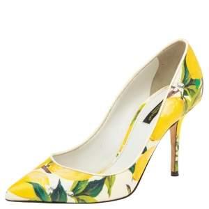 Dolce & Gabbana Multicolor Lemon Print Coated Canvas Pointed Toe Pumps Size 38
