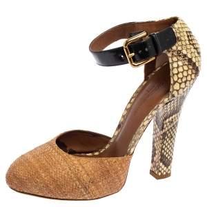 Dolce & Gabbana Brown/Beige Raffia and Python Ankle Strap Sandals Size 39
