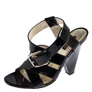 Dolce & Gabbana Black Patent Leather Criss Cross Ankle Strap Sandals Size 38