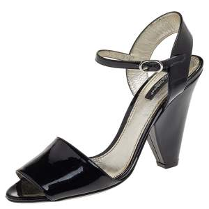 Dolce & Gabbana Black Patent Leather Open Toe Ankle Strap Sandals Size 39.5